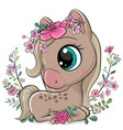 cartoon horse with flowers on a white background vector image vector image