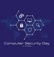 computer security day letter emblem with hexagon