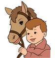 cute little girl riding a horse vector image vector image