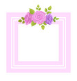 decorative border rose flowers with green leaves vector image vector image