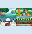 four scenes with people and snowman vector image