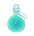 glass bottle with zodiac cancer constellation vector image vector image