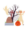 halloween cartoon scene cute zombie kid scary vector image vector image