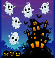 halloween night background with flying ghost and s vector image