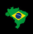 hanging brazil flag in form map federative vector image vector image