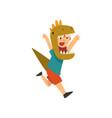 happy boy running wearing dinosaur costume kid vector image vector image
