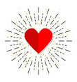 heart icon in flat design with burst vector image vector image