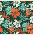 hibiscus flowers and tropical leaves fabric vector image