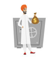 hindu businessman holding a money bag vector image vector image