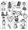 Hipster black icons composition print vector image vector image