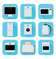home appliances in flat design blue square icons vector image