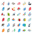 internet learning icons set isometric style vector image vector image