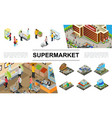 isometric supermarket elements collection vector image