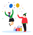 kids getting christmas presents and holding air vector image vector image