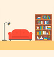 lamp with sofa and book shelf flat design vector image vector image