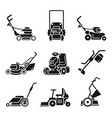 lawnmower icon set simple style vector image