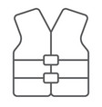life vest thin line icon safety and swimming vector image
