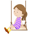 little girl on wooden swing vector image vector image