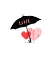love heart sign over umbrella two hearts in love vector image vector image
