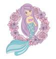 mermaid flower floral wreath vector image vector image