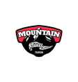 mountain summer camp emblem template with rock vector image vector image