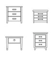 nightstand bedside icons set outline style vector image vector image