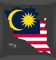 pahang malaysia map with malaysian national flag vector image vector image