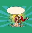 panic rage anger screaming santa girl vector image vector image