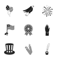 Patriot Day set icons in black style Big vector image vector image