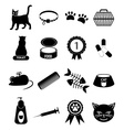Pet cat icons set vector image
