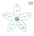 Pie chart with 5 petals design element vector image vector image