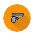 powerful pistol handgun icon on white background vector image