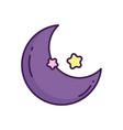 purple half moon and stars decoration vector image vector image