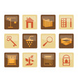 real estate icons over brown background vector image vector image
