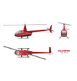 red helicopter top front and side view vector image vector image