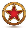 Refined red star emblem with golden borders 3d vector image