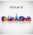 reykjavik skyline silhouette in colorful vector image vector image