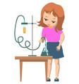 schoolgirl in science school club doing experiment vector image