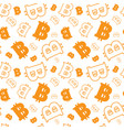 seamless pattern with bitcoins signs on white vector image vector image