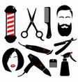 set barber tools vector image