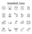 Set basketball related line icons contains