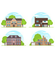 set frontview english style suburban vector image