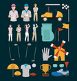 set of golf sport equipment vector image vector image