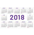 simple pocket calendar 2018 center year flat vector image vector image