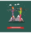 skiers women in flat design vector image