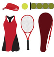 Tennis set six items vector image