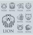 tiger head royal badge with beautiful animal vector image vector image