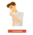 tuberculosis symptom man coughing lung infection vector image vector image