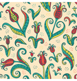 Tulips flowers seamless pattern vector image