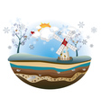 Winter Windmill Island2 vector image vector image
